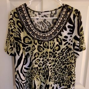 Susan Graver Liquid Knit Top Size Large